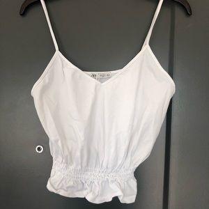Zara Tops - Zara V-neck Crop tip in White